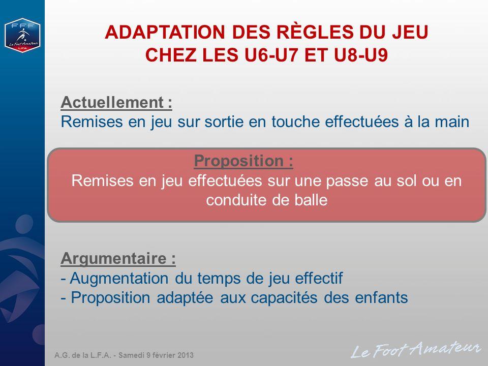 ADAPTATION DES RÈGLES DU JEU