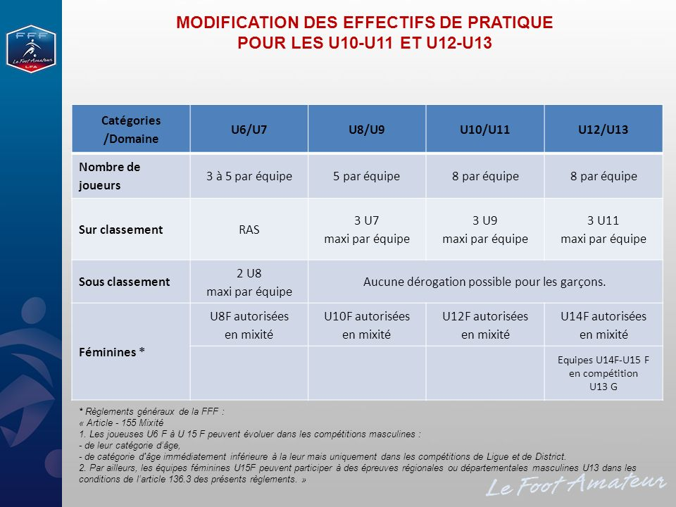 MODIFICATION DES EFFECTIFS DE PRATIQUE