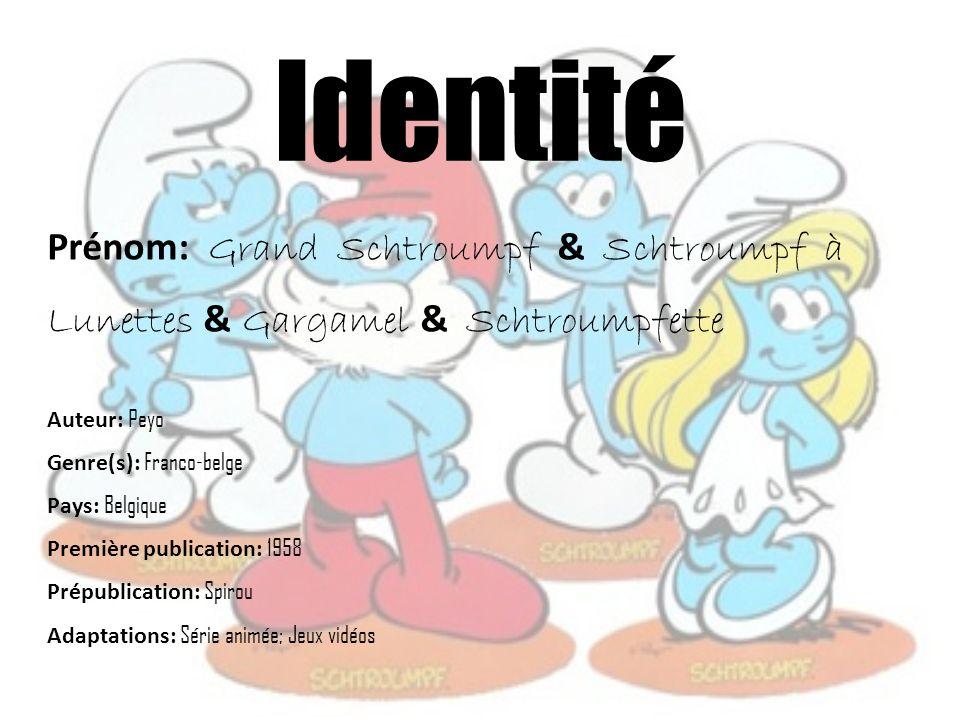 Identité Prénom: Grand Schtroumpf & Schtroumpf à Lunettes & Gargamel & Schtroumpfette. Auteur: Peyo.
