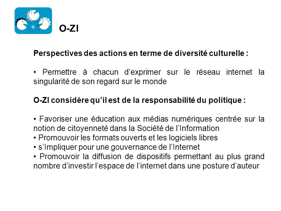 O-ZI Perspectives des actions en terme de diversité culturelle :