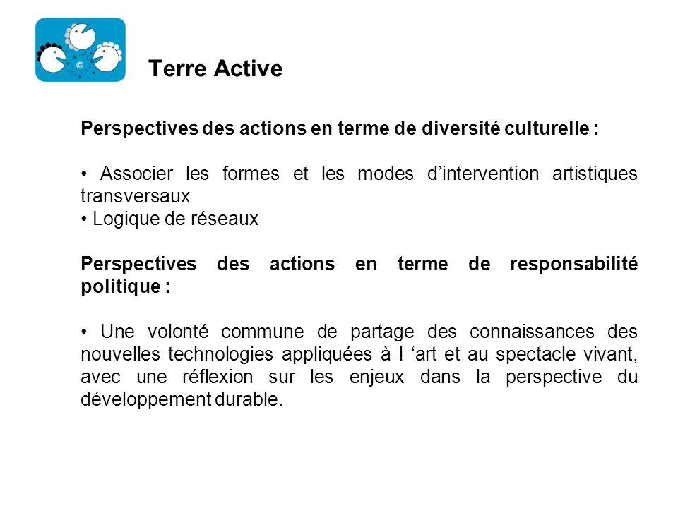 Terre Active Perspectives des actions en terme de diversité culturelle : • Associer les formes et les modes d'intervention artistiques transversaux.