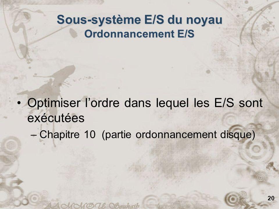Sous-système E/S du noyau Ordonnancement E/S