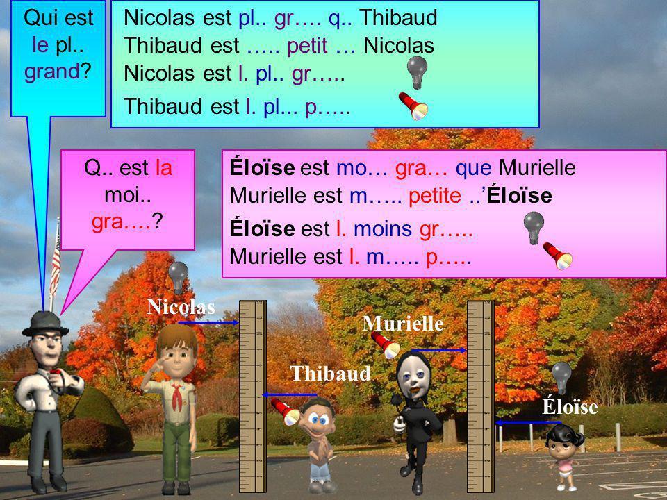 Qui est le pl.. grand Nicolas est pl.. gr…. q.. Thibaud. Thibaud est ….. petit … Nicolas. Nicolas est l. pl.. gr…..