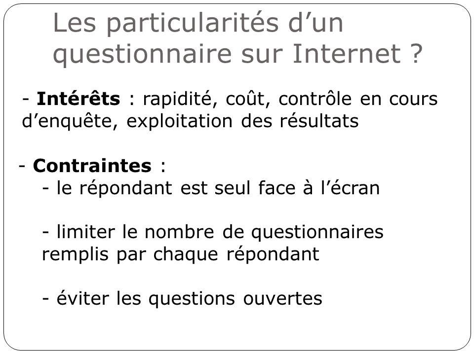 Les particularités d'un questionnaire sur Internet