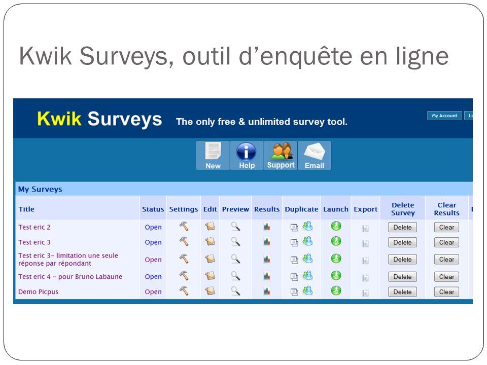 Kwik Surveys, outil d'enquête en ligne