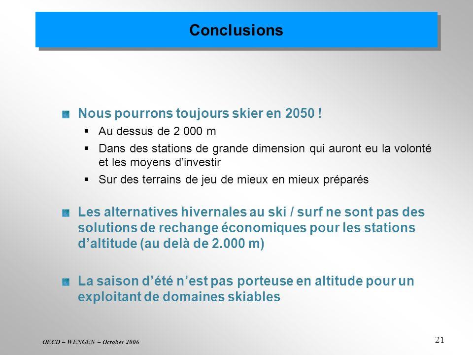 Conclusions Nous pourrons toujours skier en 2050 !