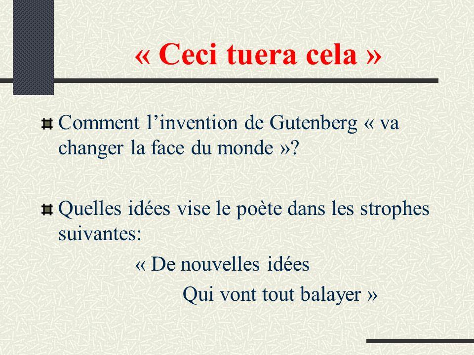 « Ceci tuera cela » Comment l'invention de Gutenberg « va changer la face du monde » Quelles idées vise le poète dans les strophes suivantes:
