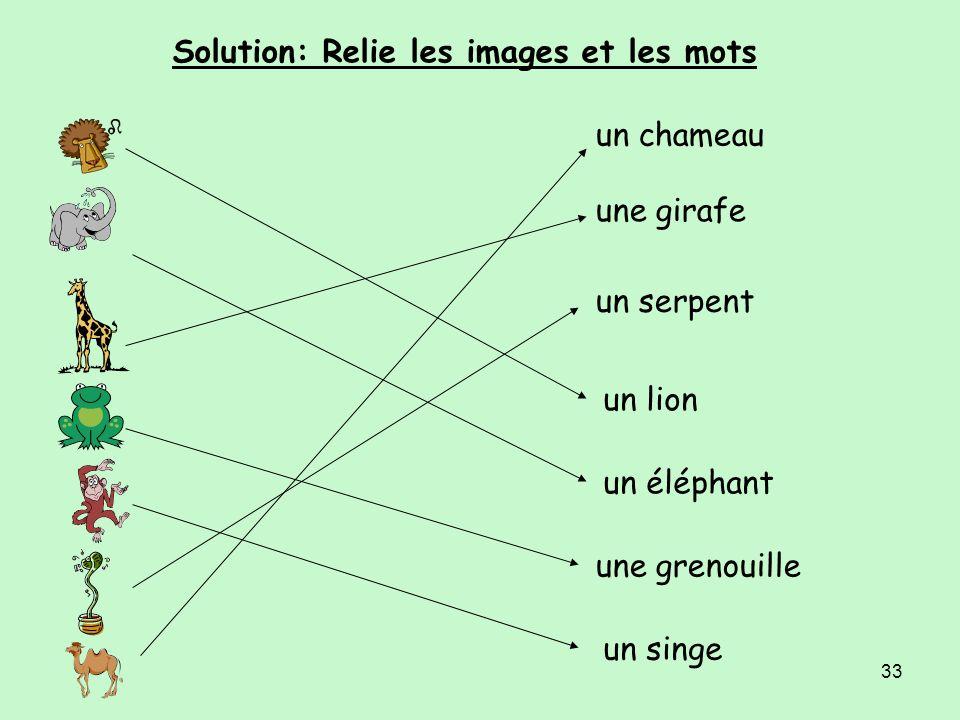 Solution: Relie les images et les mots