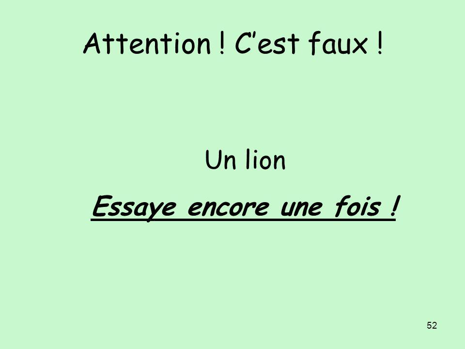 Attention ! C'est faux ! Un lion Essaye encore une fois !