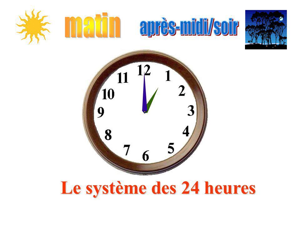 matin après-midi/soir Le système des 24 heures