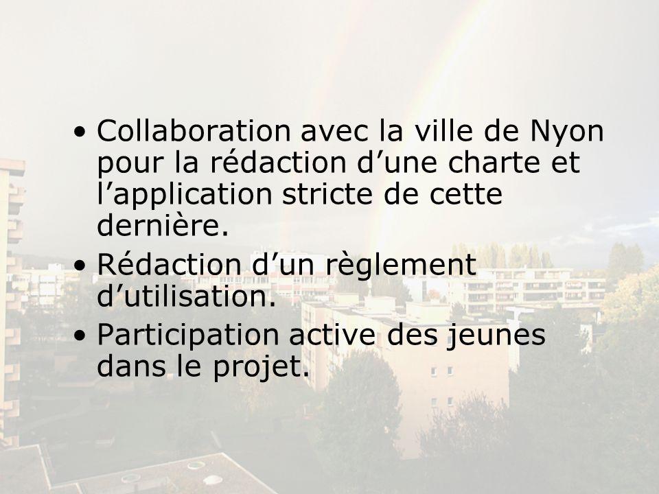 Collaboration avec la ville de Nyon pour la rédaction d'une charte et l'application stricte de cette dernière.