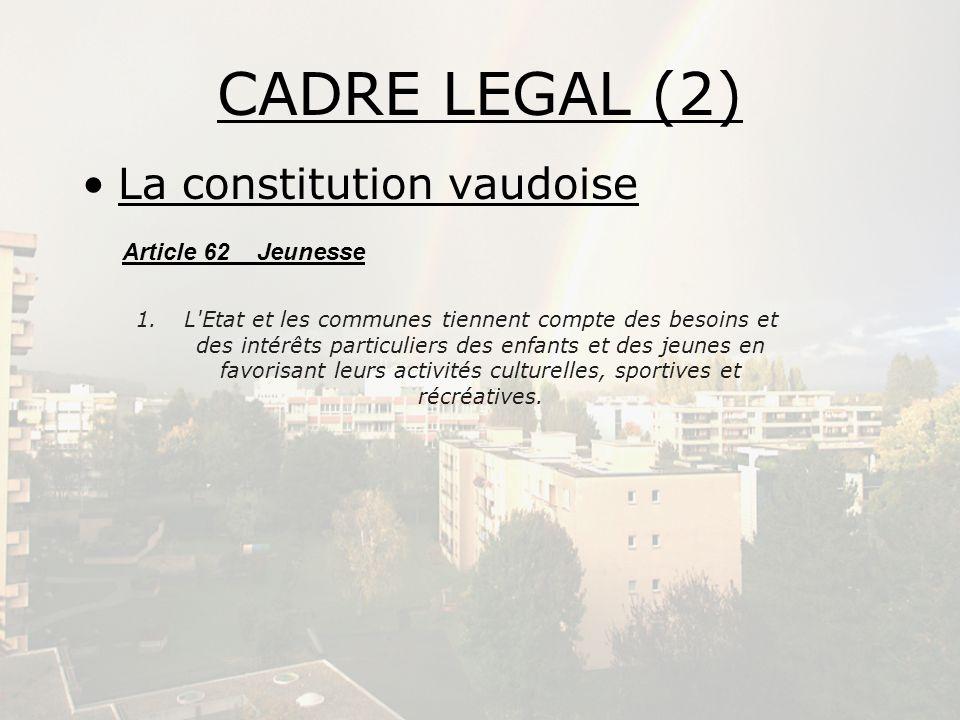 CADRE LEGAL (2) La constitution vaudoise Article 62 Jeunesse