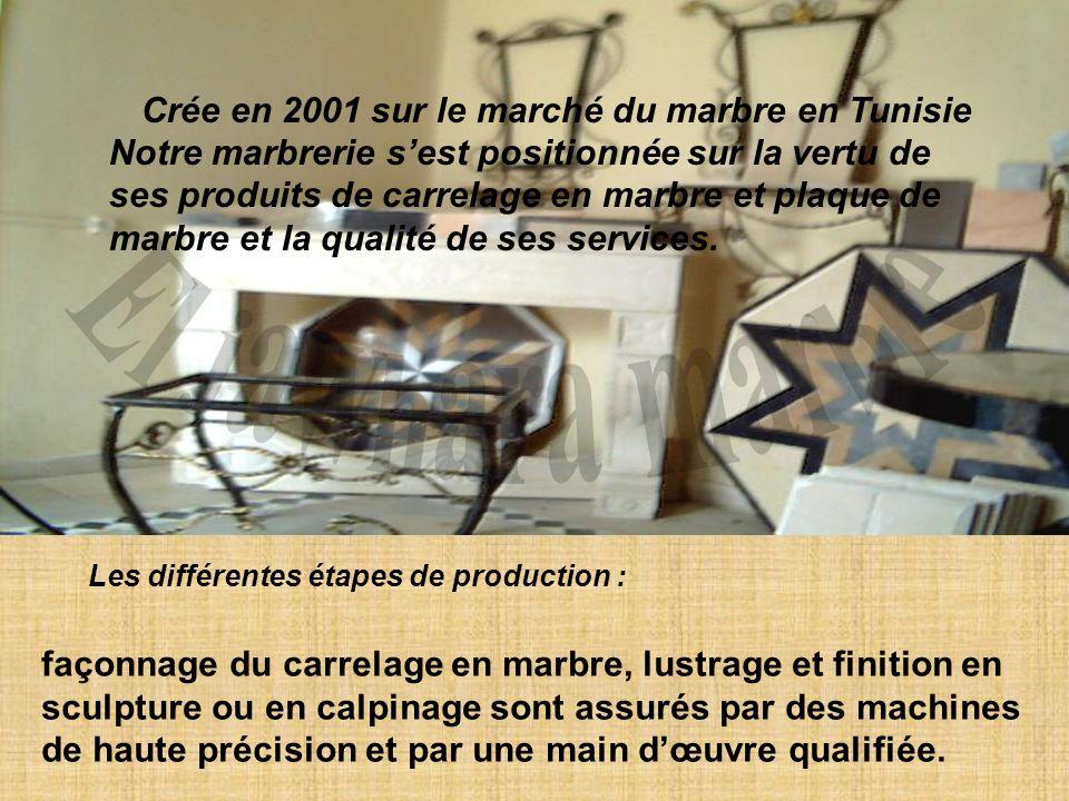 El jawhara marbre Crée en 2001 sur le marché du marbre en Tunisie