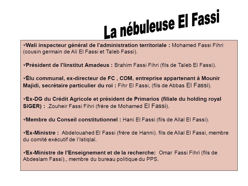 La nébuleuse El Fassi Wali inspecteur général de l administration territoriale : Mohamed Fassi Fihri (cousin germain de Ali El Fassi et Taïeb Fassi).