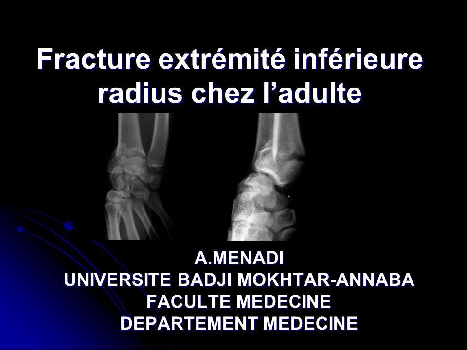 Fracture extrémité inférieure radius chez l'adulte