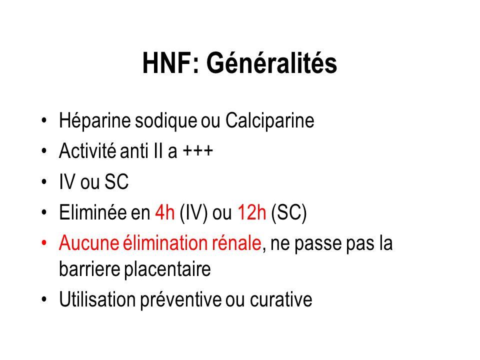 HNF: Généralités Héparine sodique ou Calciparine