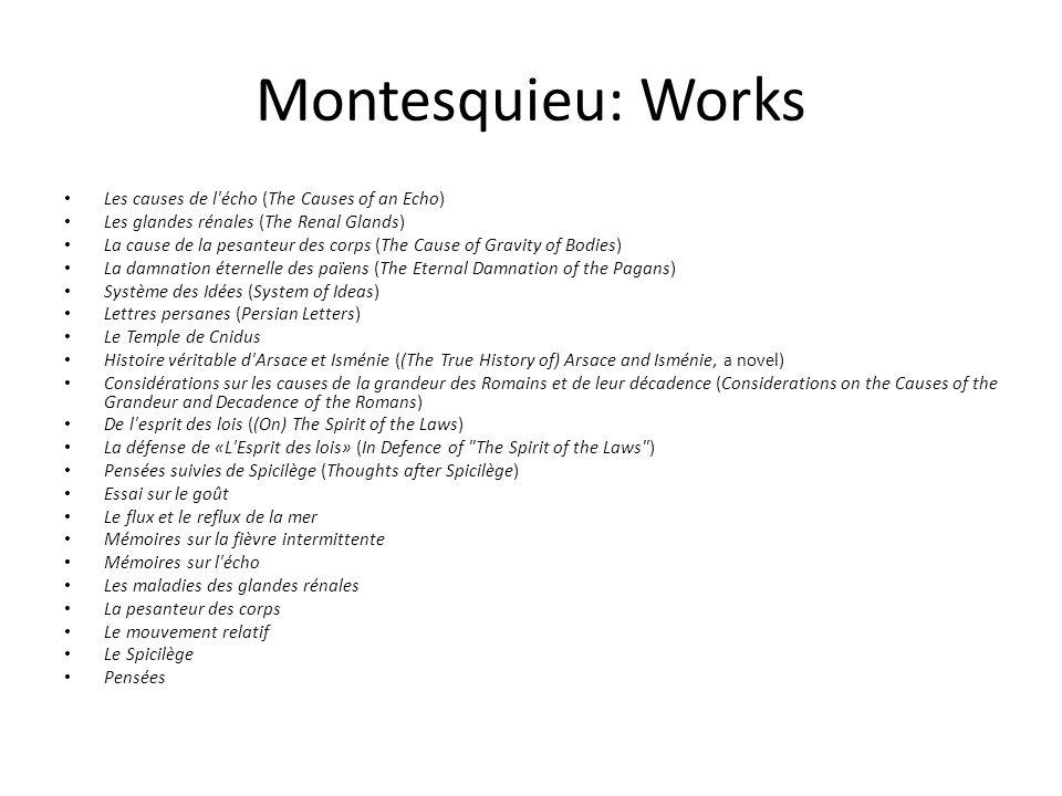 Montesquieu: Works Les causes de l écho (The Causes of an Echo)