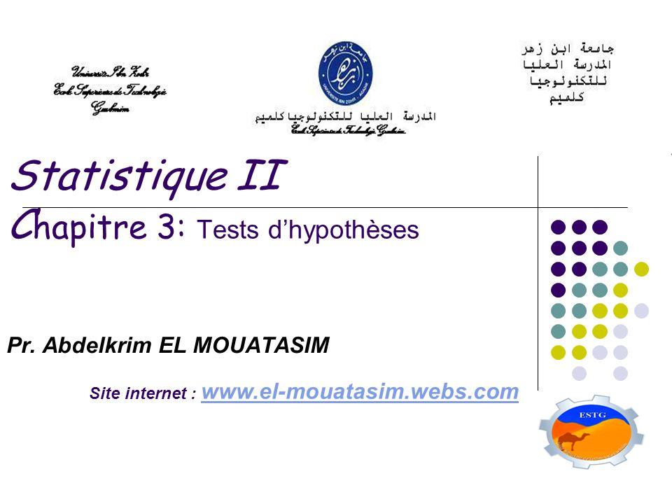 Statistique II Chapitre 3: Tests d'hypothèses