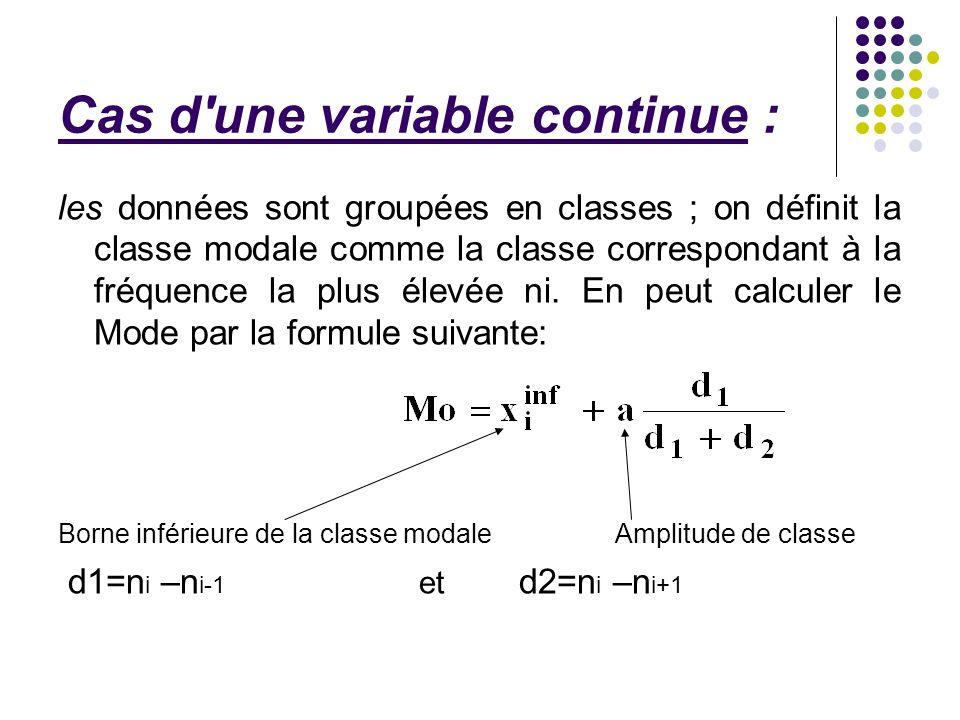 Cas d une variable continue :