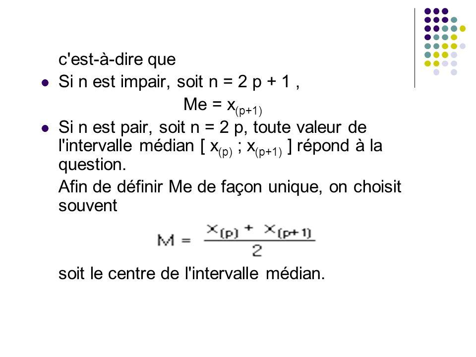 c est-à-dire que Si n est impair, soit n = 2 p + 1 , Me = x(p+1)