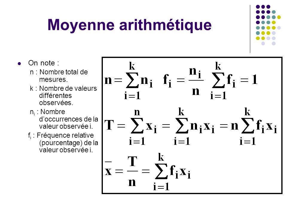 Moyenne arithmétique On note : n : Nombre total de mesures.
