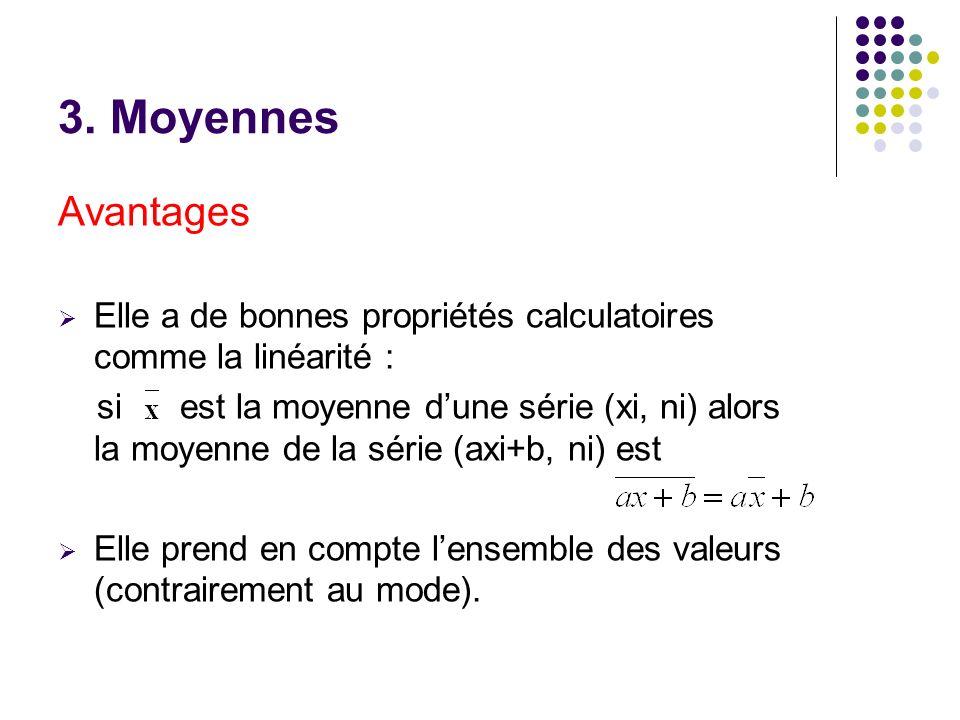 3. Moyennes Avantages. Elle a de bonnes propriétés calculatoires comme la linéarité :