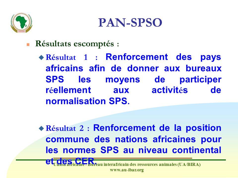 PAN-SPSO Résultats escomptés :