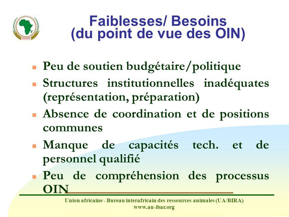 Faiblesses/ Besoins (du point de vue des OIN)