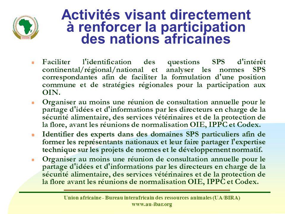 Activités visant directement à renforcer la participation des nations africaines