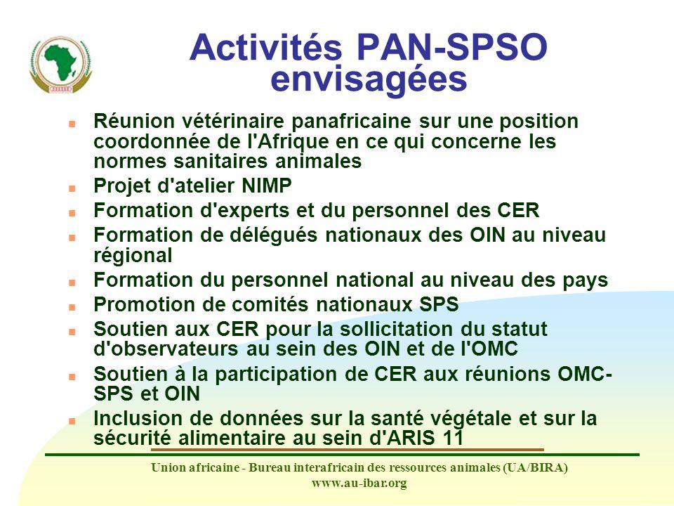 Activités PAN-SPSO envisagées