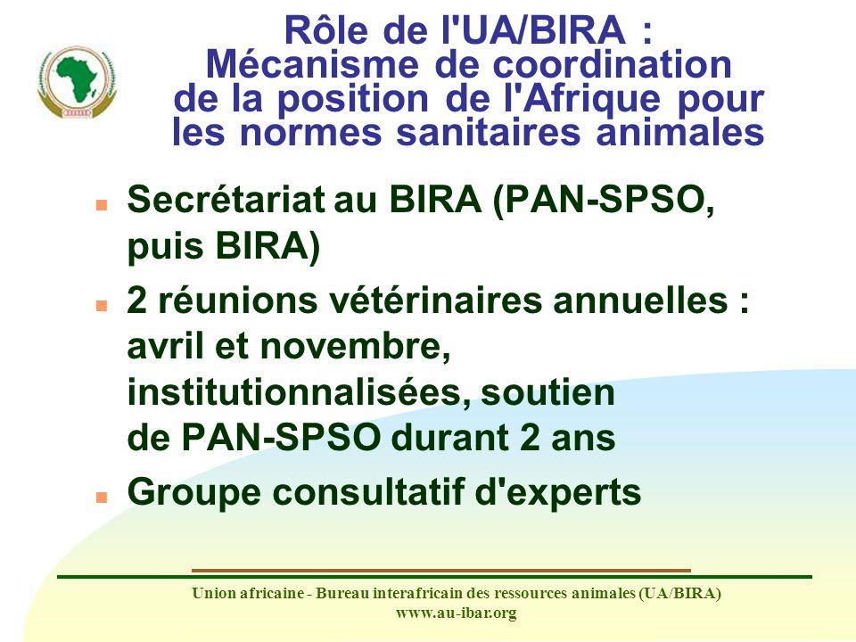 Rôle de l UA/BIRA : Mécanisme de coordination de la position de l Afrique pour les normes sanitaires animales