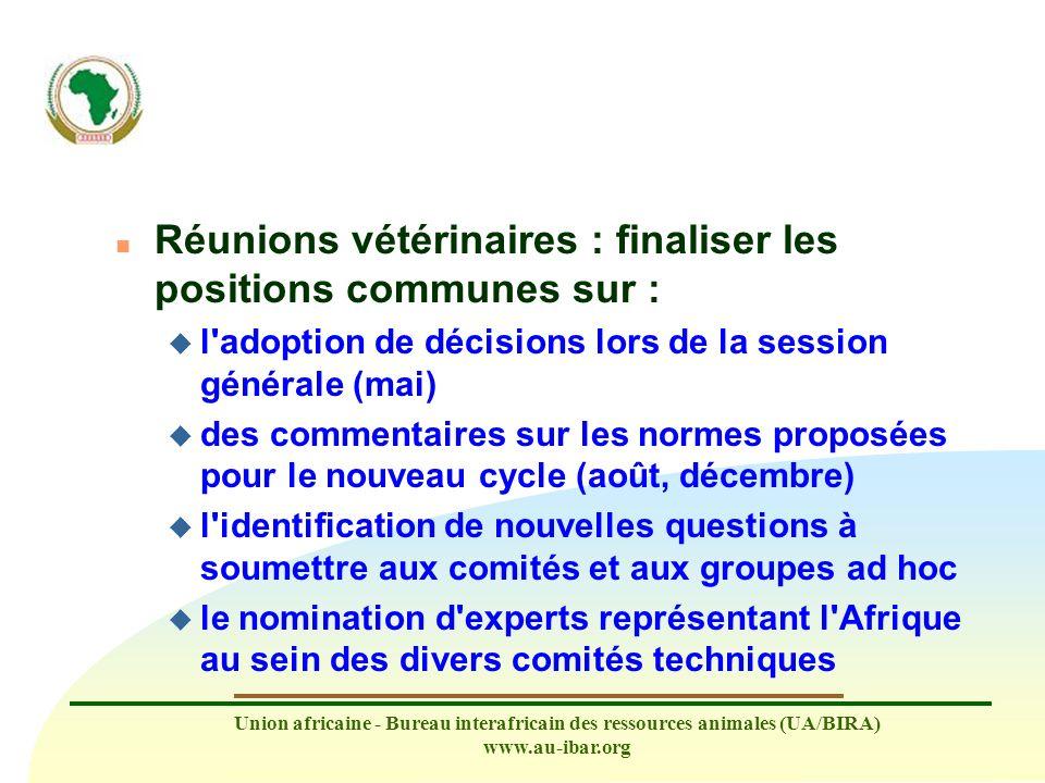 Réunions vétérinaires : finaliser les positions communes sur :