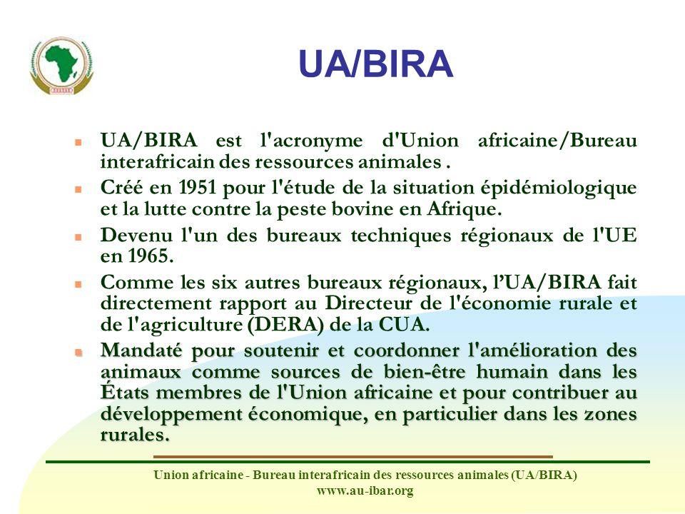 UA/BIRA UA/BIRA est l acronyme d Union africaine/Bureau interafricain des ressources animales .