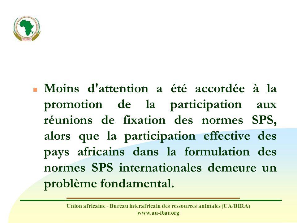 Moins d attention a été accordée à la promotion de la participation aux réunions de fixation des normes SPS, alors que la participation effective des pays africains dans la formulation des normes SPS internationales demeure un problème fondamental.
