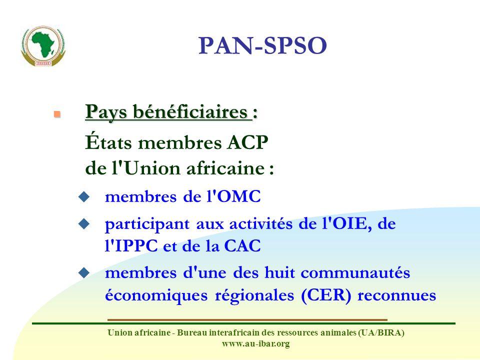 PAN-SPSO Pays bénéficiaires : États membres ACP de l Union africaine :