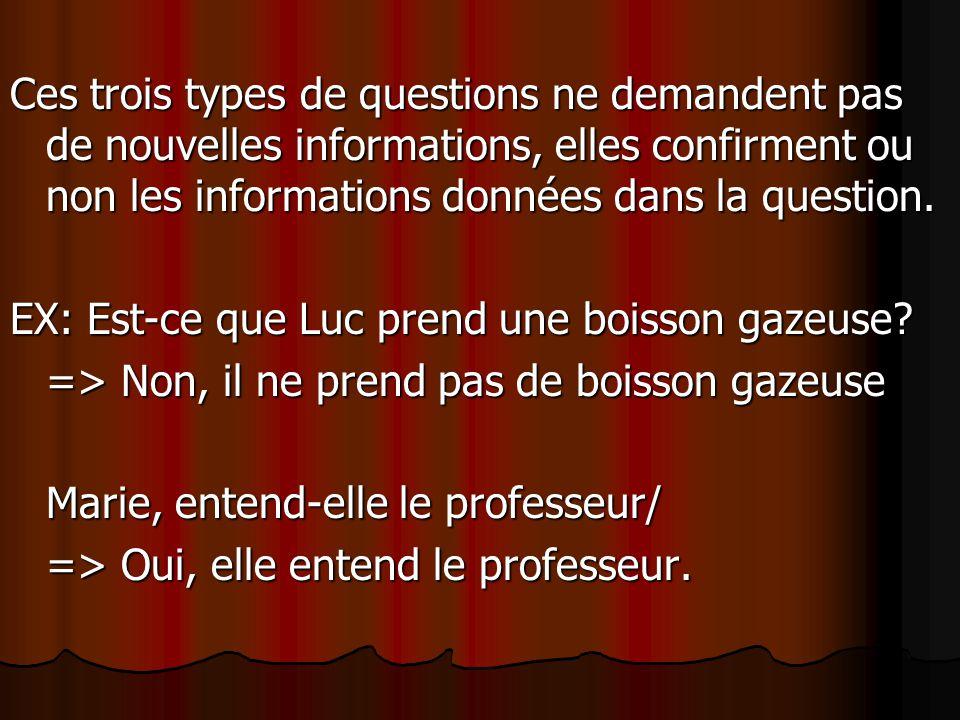 Ces trois types de questions ne demandent pas de nouvelles informations, elles confirment ou non les informations données dans la question.