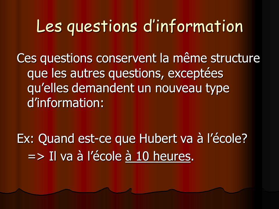 Les questions d'information