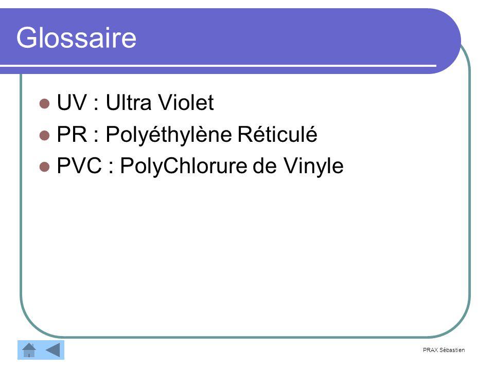 Glossaire UV : Ultra Violet PR : Polyéthylène Réticulé
