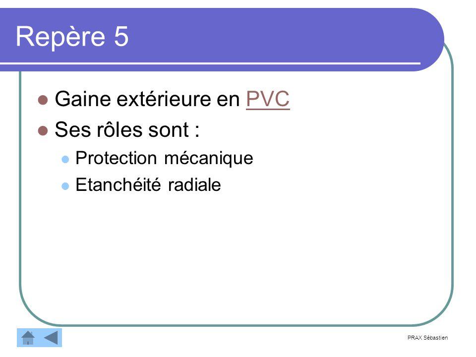 Repère 5 Gaine extérieure en PVC Ses rôles sont : Protection mécanique