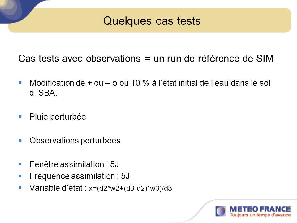 Quelques cas tests Cas tests avec observations = un run de référence de SIM.