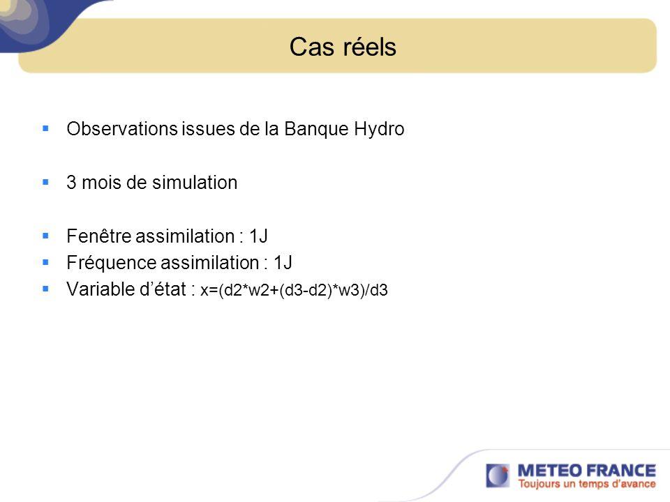 Cas réels Observations issues de la Banque Hydro 3 mois de simulation