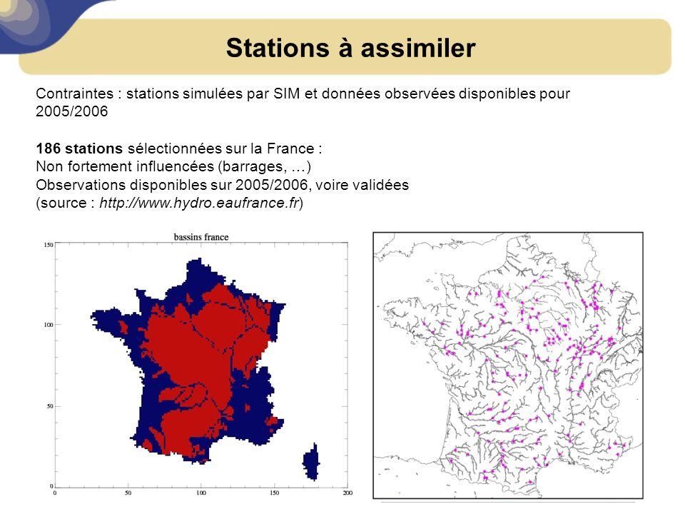 Stations à assimiler Contraintes : stations simulées par SIM et données observées disponibles pour 2005/2006.