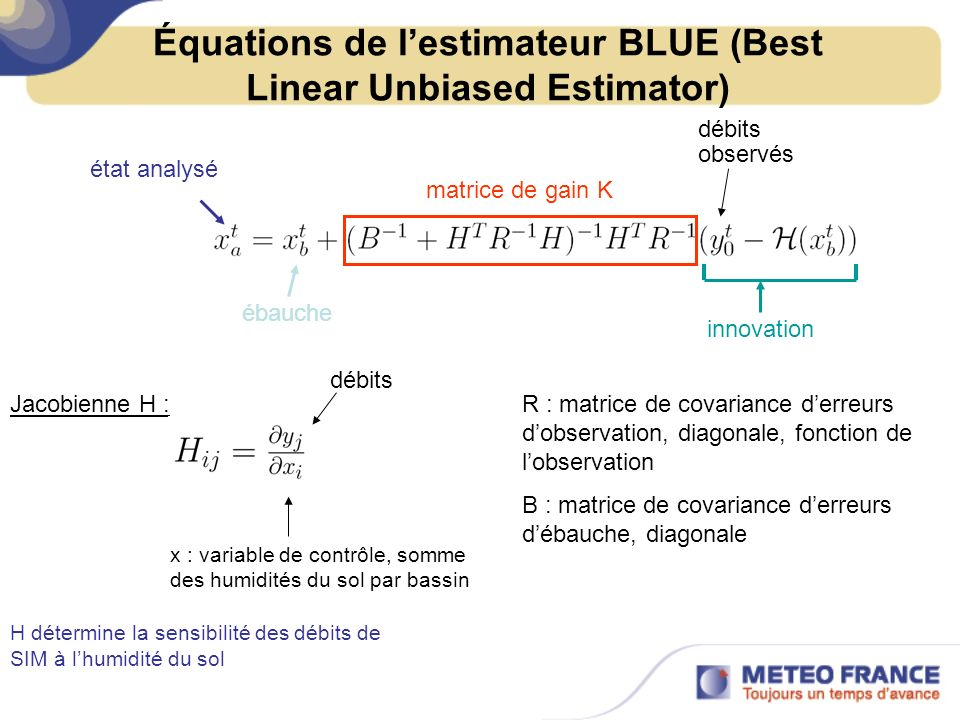 Équations de l'estimateur BLUE (Best Linear Unbiased Estimator)