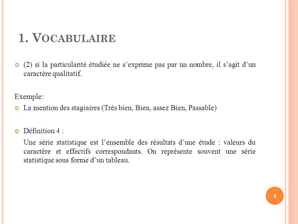 1. Vocabulaire (2) si la particularité étudiée ne s'exprime pas par un nombre, il s'agit d'un caractère qualitatif.