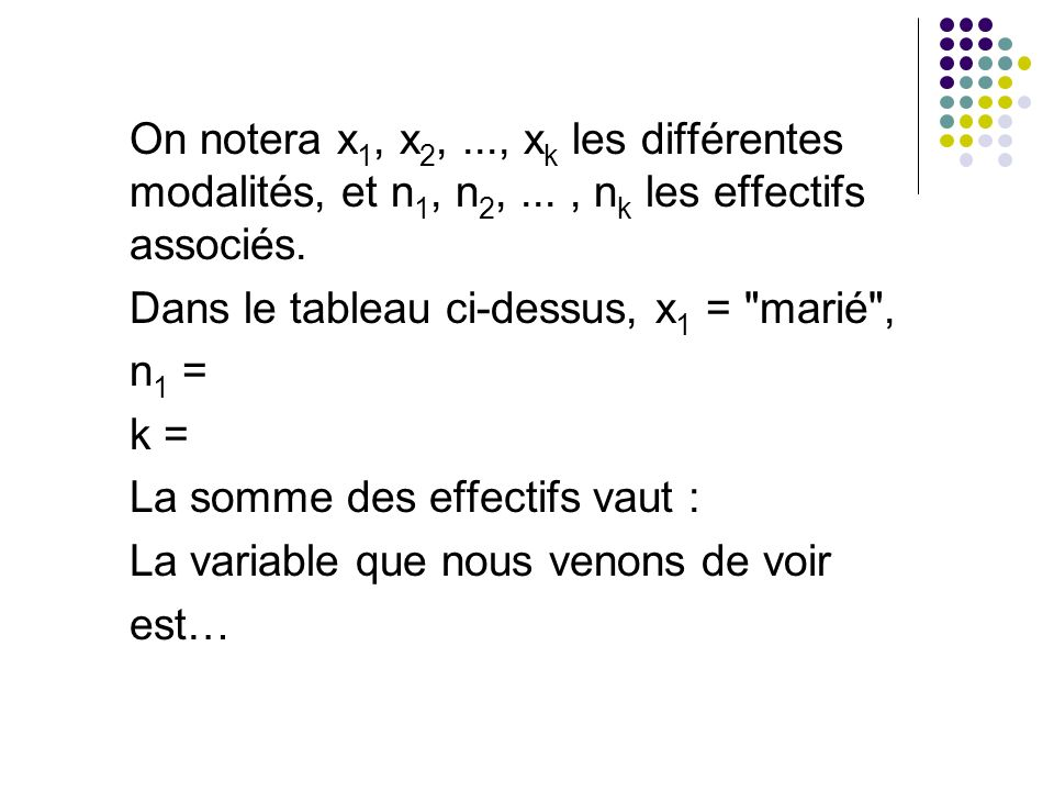 On notera x1, x2,. , xk les différentes modalités, et n1, n2,