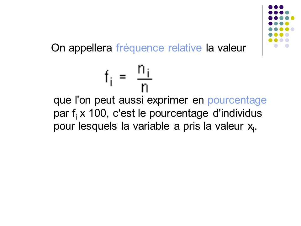 On appellera fréquence relative la valeur