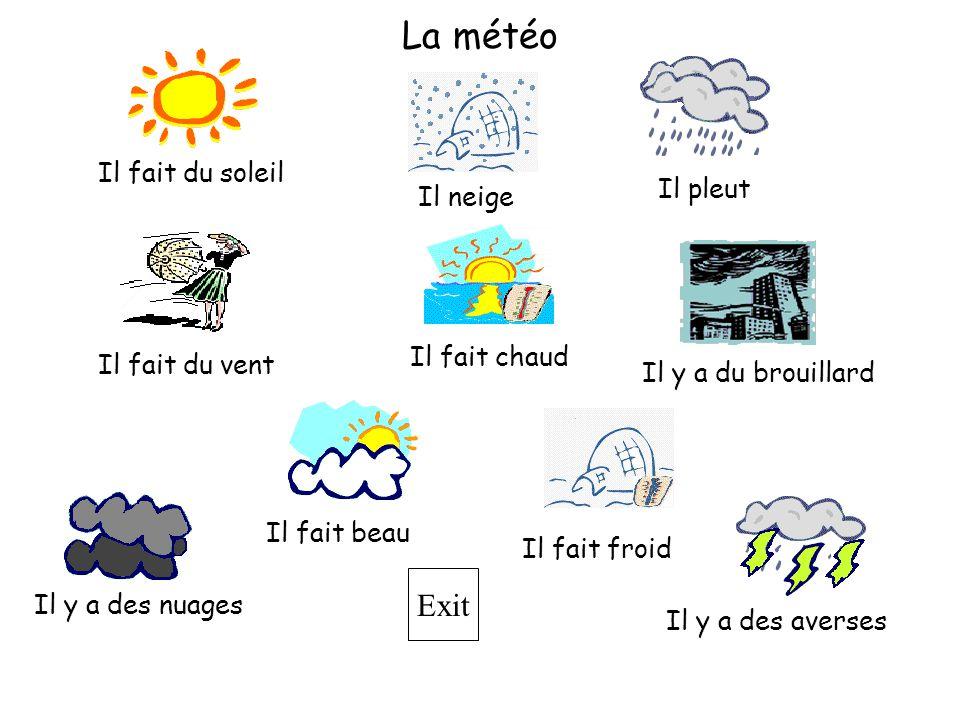 La météo Il fait du soleil Il pleut Il neige Il fait chaud