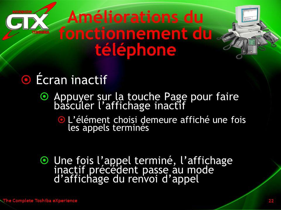 Améliorations du fonctionnement du téléphone