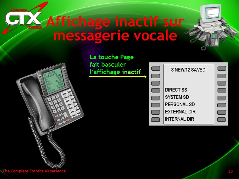 Affichage inactif sur messagerie vocale