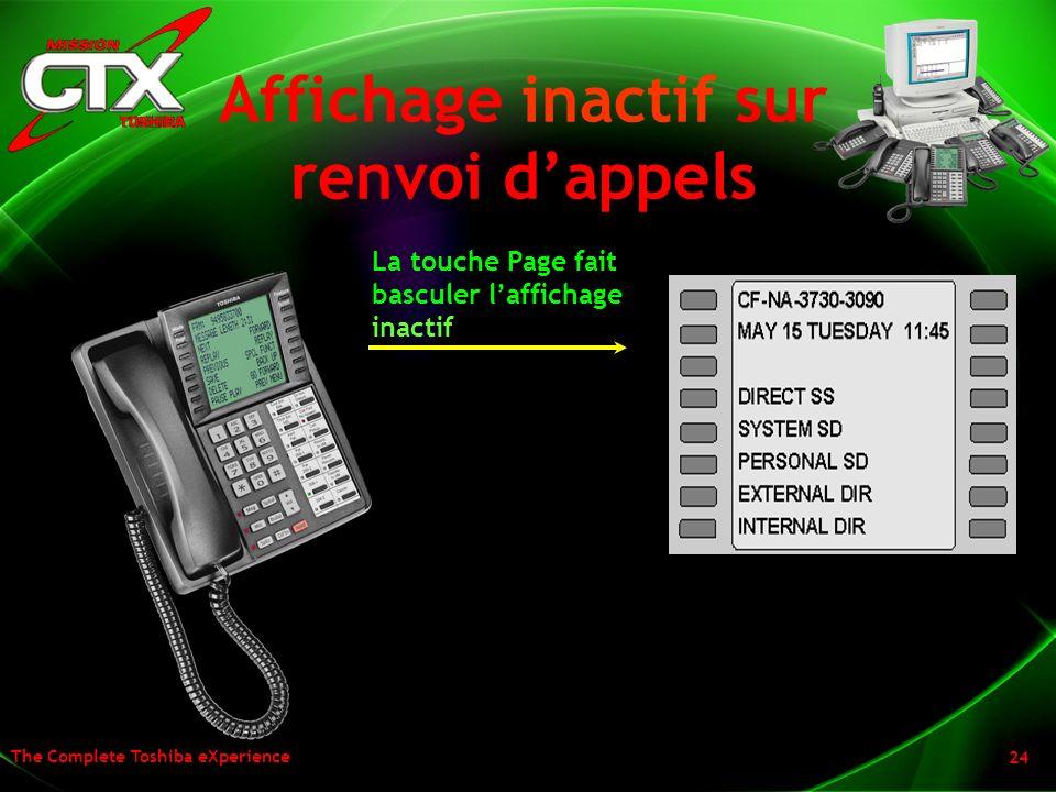 Affichage inactif sur renvoi d'appels